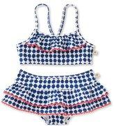 Kate Spade Quatrefoil Skirted Ruffle Bikini, Blue, Size 7-14