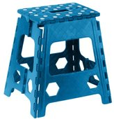 Folding Step Stool 15 Inch with Anti Slip Dots (Blue) by Superior Performance