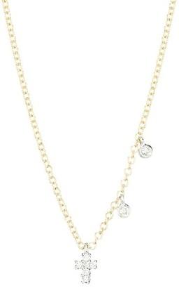Meira T 14K Yellow Gold & Diamond Cross Charm Necklace