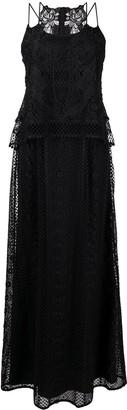 Alberta Ferretti Semi-Sheer Sleeveless Maxi Dress