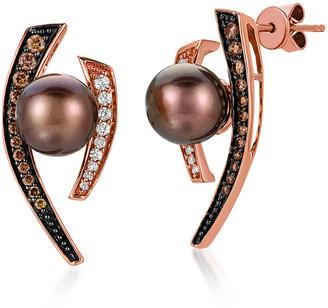 LeVian Le Vian 14K Strawberry Gold 0.45 Ct. Tw. Diamond 8-9Mm Pearl Earrings