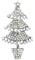 PYNK JEWELLERY Triple Tier Crystal AB Christmas Tree Brooch Silver