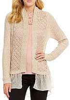 Jessica Simpson Tovelo High-Low Ruffle-Hem Pointelle-Knit Cardigan