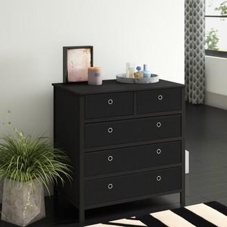 Andover Mills Solange 5 Drawer Bachelor's Chest Color: Black