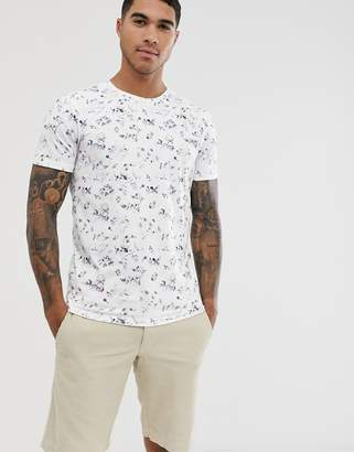 Selected floral graphic print t-shirt in white