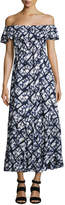 Neiman Marcus Off-the-Shoulder Tie-Dye Maxi Dress, Blue/White
