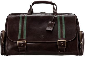 Maxwell Scott Bags Classic Italian Brown Leather Luggage Bag For Men