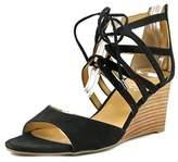 Franco Sarto Mollie Open Toe Canvas Wedge Sandal.