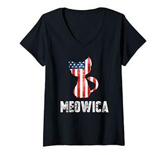 Womens Patriotic 4th of July Shirt Meowica American Flag Cat Lovers V-Neck T-Shirt