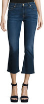 7 For All Mankind New Luxe Cropped Boot-Cut Jeans with Raw Hem, B(Air) Duchess