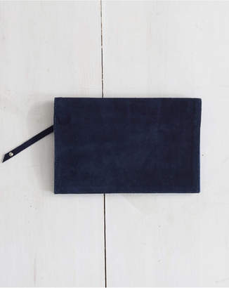 The Birds Nest Foldover Clutch - Navy Suede