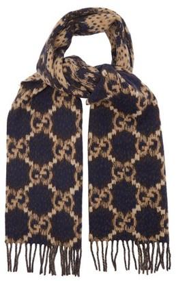 Gucci GG-jacquard Fringed Wool Scarf - Blue