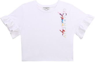 Givenchy Girl's Logo-Embroidered Flutter-Sleeve Shirt, Size 12-14