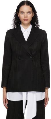 Mame Kurogouchi Black Ribbon Stripe Double-Breasted Blazer