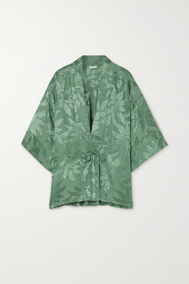 LOVE Stories Suki Cropped Satin-jacquard Robe - Jade