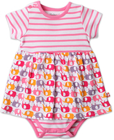 Zutano Pink Ella's Elephants Skirted Bodysuit - Infant