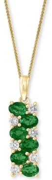 "Macy's Lali Jewels Emerald (1-1/5 ct. t.w.) & Diamond (1/4 ct. t.w.) Rectangular 18"" Pendant Necklace in 14k Gold"
