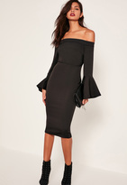 Missguided Black Bardot Frill Sleeve Tailored Midi Dress