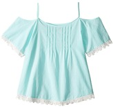 Lucky Brand Kids - Flutter Sleeve Cold Shoulder Top Girl's Clothing
