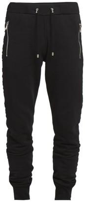 Balmain Logo Embossed Moto Sweatpants