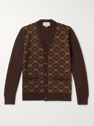 Gucci Panelled Logo-Intarsia Wool And Alpaca-Blend Cardigan