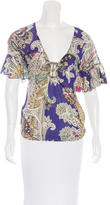 Just Cavalli Abstract Print Bell Sleeve Top