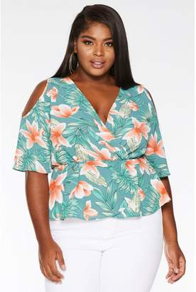 Quiz Curve Green and Coral Tropical Cold Shoulder Peplum Top