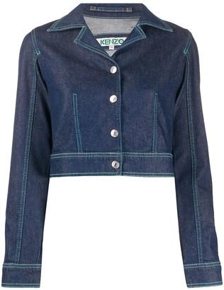 Kenzo Notched-Lapel Cropped Denim Jacket