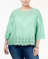 Jessica Simpson Trendy Plus Size Eyelet Blouse