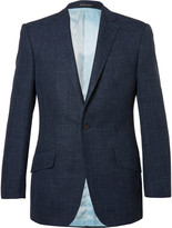 Richard James - Blue Hyde Slim-fit Checked Wool, Silk And Linen-blend Blazer