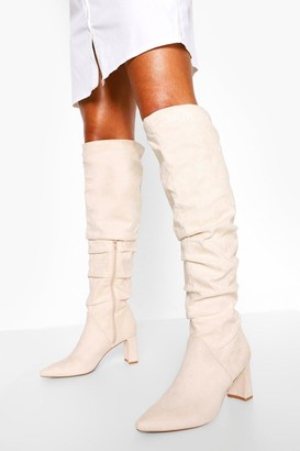 boohoo Slouched Low Block Heel Over The Knee Boots