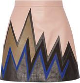 Emilio Pucci Suede-paneled leather mini skirt