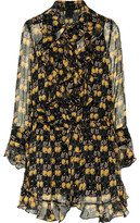 Anna Sui Ruffled Printed Silk-Voile Mini Dress