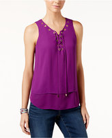 INC International Concepts Sleeveless Lace-Up Top, Only at Macy's