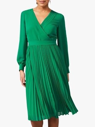Phase Eight Isadora Pleated Wrap Dress, Apple Green