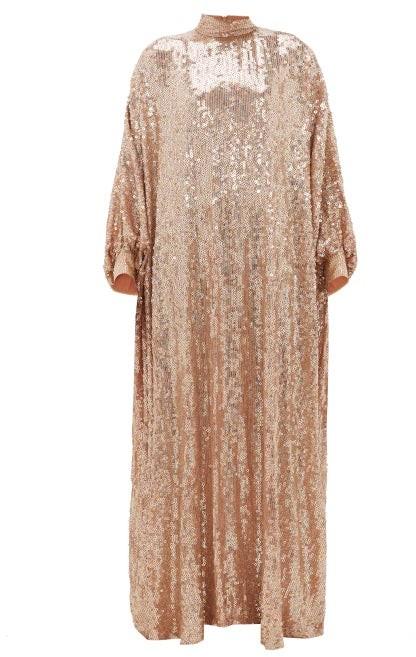 Ashish Sheela High-neck Sequinned-georgette Tent Dress - Nude