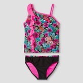Xhilaration Girls' Floral Print Tankini Set Pink/Black