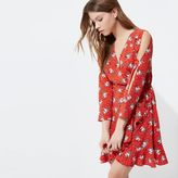 River Island Womens Red floral print frill wrap dress