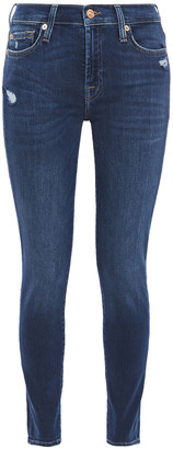 7 For All Mankind Distressed Faded Mid-rise Skinny Jeans