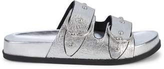 Rebecca Minkoff Vachel Crinkled Metallic Platform Slides