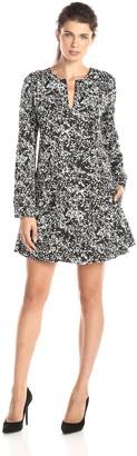 Dylan by True Grit Women's Dark Renaissance Floral Long Sleeve Pocket Dress