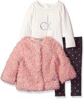 Calvin Klein Baby 3 Piece Faux Fur Jacket Set