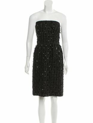 Oscar de la Renta Embellished Strapless Cocktail Dress Black