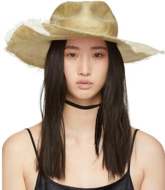 Ann Demeulemeester Beige Straw Beach Hat