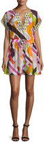 Emilio Pucci Parioli-Print Coverup Dress, White/Pink Green