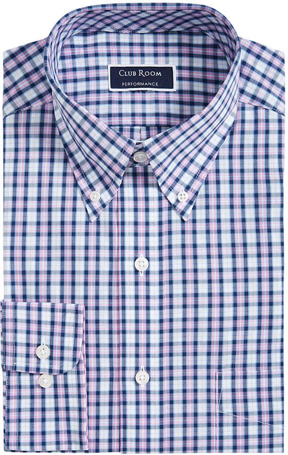 Club Room Men Classic/Regular Fit Wrinkle-Resistant Plaid Dress Shirt