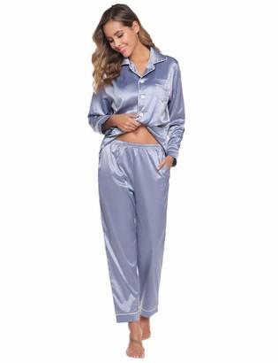 Abollria Women's Pajamas Satin Nightwear Set