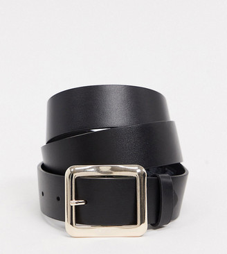 ASOS DESIGN Curve gold square buckle jeans waist and hip belt in black