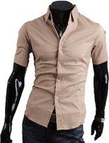 WSLCN Men's Summer Plain Casual Dress Shirts Short Sleeve Solid Color Slim Fit