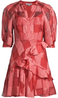 Rebecca Taylor Organza Check Long-Sleeve Dress